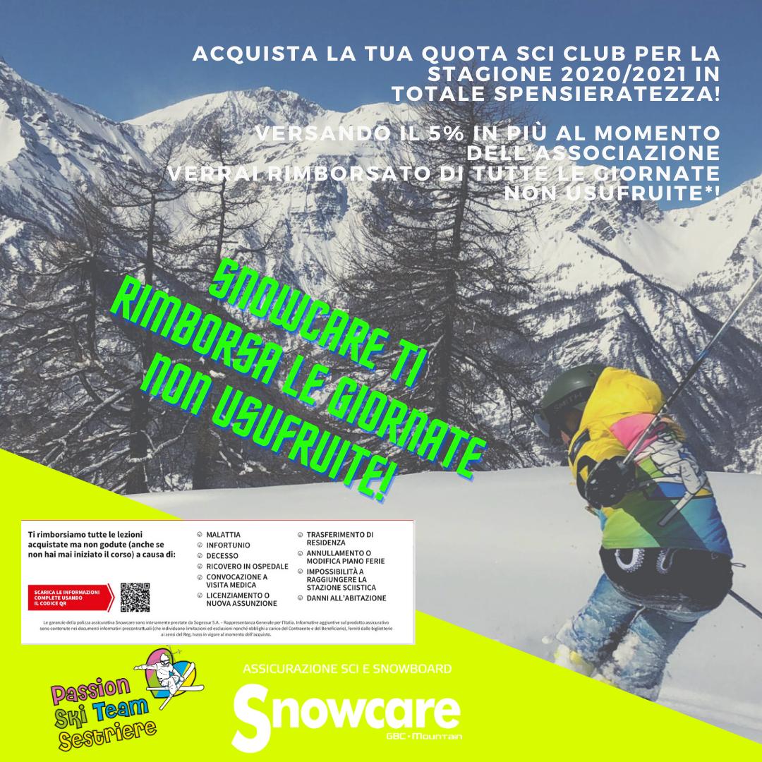 Snowcare: assicura la tua quota per pagare solamente i giorni effettivamente usufruiti!